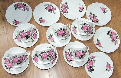 Vintage English Bone China Pink Roses - Set Of 6 Cups, Saucers & Side Plates
