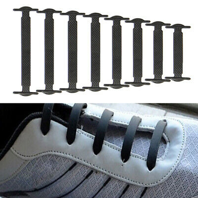 16Pcs No Tie Kids Adult Shoelaces Rubber Silicone Slips Easy Sneaker Shoe Laces