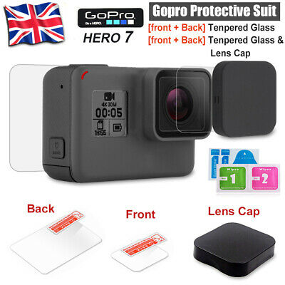 Gopro LCD Screen Protector Film Tempered Glass + Lens Cap/Cover For Hero 7 6 5