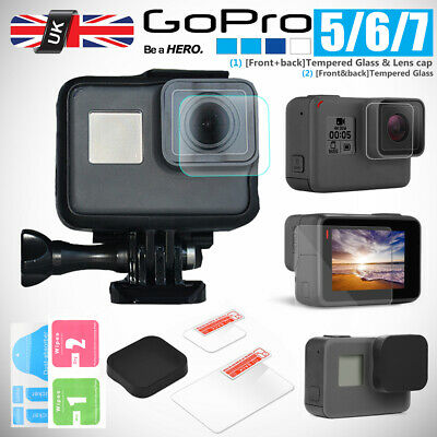 For Gopro Hero 7 6 5 Accessories Lens Cap&Lens+Screen Protector Tempered Glass
