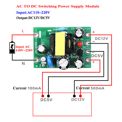 AC110V~220V To Dual Ways DC5V/12V Isolated PCB Switch Power Supply Board Module