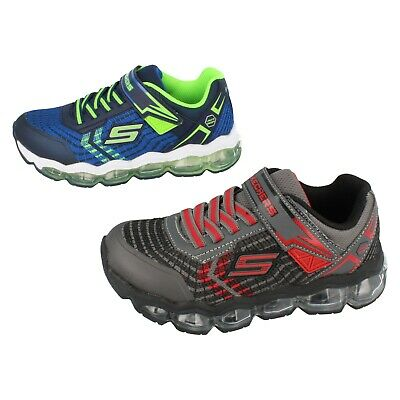 Boys Skechers Turbo Flash Light up Trainers : 90595 Navy/Lime And Charcoal/Red