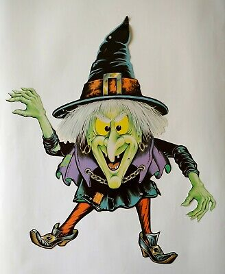Vintage Beistle Die Cut Out Jointed Witch HALLOWEEN circa 1980, USA