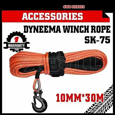 Dyneema SK75 Winch Rope Hook 10MM x 30M Synthetic Car Tow Recovery Cable