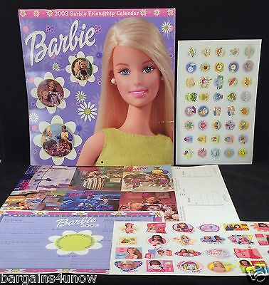 2003 Barbie Friendship Calendar~Stickers~Friendship Certificat~12 Postcards~NEW