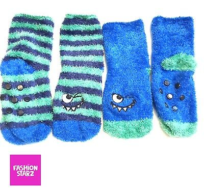 BNWT Baby Boys Ex M_thercare 6-8.5 Two Fleece Blue Monster Socks 1-2 2-4 yrs