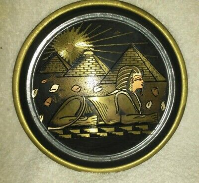 Antique Vtg Egypt Egyptian Brass Wall Plate Dish Handmade Sphinx  Pyramids Art
