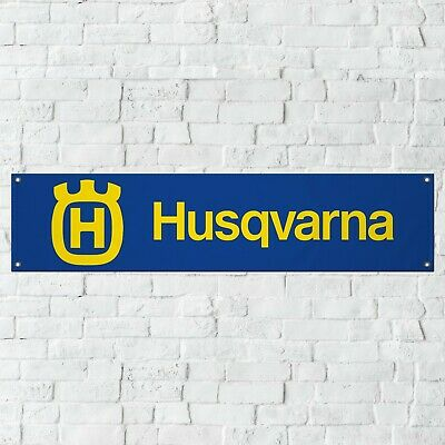 Husqvarna Motorcycles Banner Garage Workshop PVC Sign Off Road MX BLUE