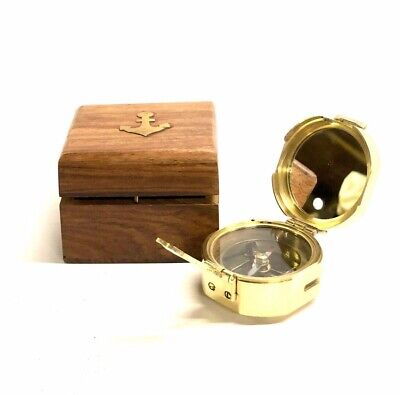 """Solid Brass Nautical 3"""" Brunton Compass in Wood Box- STANLEY LONDON"""
