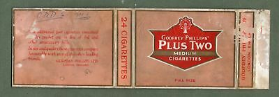 Old EMPTY cigarette packet Plus Two Medium size 24. Very Rare  #352