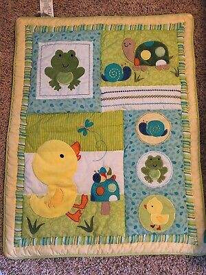 Baby Comforter Blanket With Ducks, Frogs, Turtles, And Snails Green