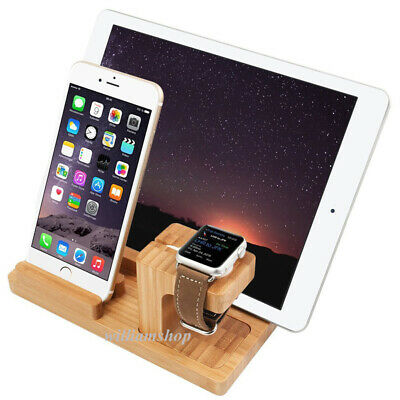 Bamboo Charging Dock Mounts & Holders For A pple Watch i Phone XS i Pad Pro Air2