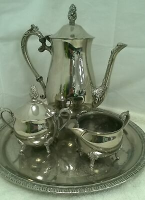 Vintage Ornate Georgian Style Silver Plated Tea Set With Tray #726