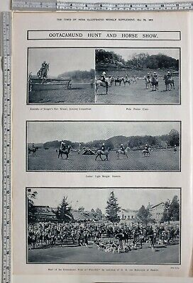 1912 India Print Ootacamund Hunt & Horse Show Meet At Fern Hill Polo Ponies
