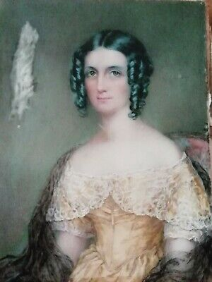 18th C Miniature in Oil Portrait Lady With Ringlets & Lace Shawl 'Mrs Walker'