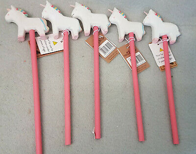New Sass & Belle Betty The Unicorn Pencil Carved Wood Wooden Kid Pink White x5