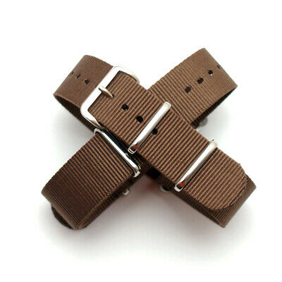 Brown Nato / Nylon Watch Strap : Steel Buckle / Keepers : 19mm or 20mm (FL186)