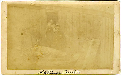 Ultra Rare Cabinet Card  - Chinese Railroad Coolies In Traditional Work Garb