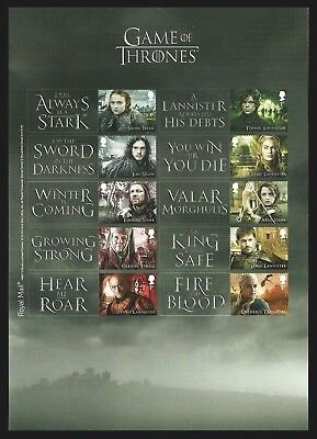 Gb 2018 Game Of Thrones Films Sci Fi Collectors Sheet Mnh