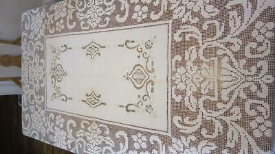 "Antique Beige Cream Linen Embroidered Crochet Lace Cutwork Tablecloth 92"" x 72"""