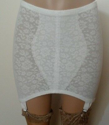 Vintage Crown-ette white Open Bottom Girdle 4 suspender garters floral size 48""