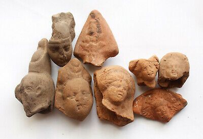 Lot of 8 terracotta Greco Roman heads figures , Egypt  1st cent BC- 1st CE