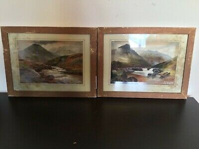 Very rare antique vintage pair of mouth paintings from 1946 war veteran Dartmoor
