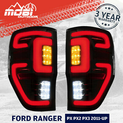 2x Smoked LED Tail lights For Ford Ranger PX MK2 Wildtrak T6 T7 T8 2011-ON