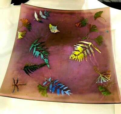 Vintage Rose & Purple Iridescent Art Glass Enameled Large Tray Ferns Dragonfly
