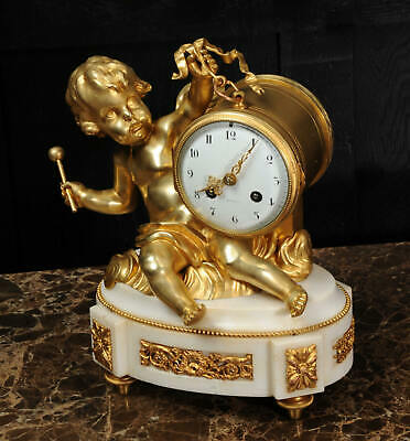 ORMOLU & WHITE MARBLE ANTIQUE FRENCH CLOCK PUTTO in CLOUDS PLAYING a DRUM C1880