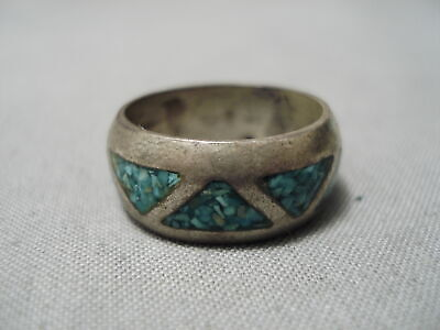Wonderful Vintage Navajo Turquoise Inlaid Sterling Silver Thick Ring Old