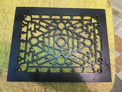 "Antique Vintage Cast Iron Decorative Heat Grate Floor Register 9"" x 12"" Ornate"