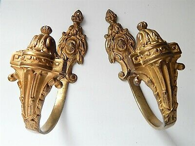 Lot of 2 Antique French Gilt Bronze Curtain Tié Back Hooks,Made 19th Century