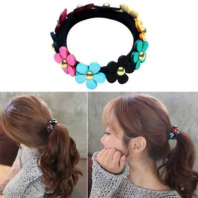 Sweet Colorful Flowers Holder Hair Rubber Band Ponytail Hair Bands Rope Elastic