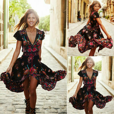 Women Summer Boho Maxi Long Dress Evening Cocktail Party Beach Dresses Sundress