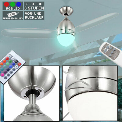 RGB LED ventilateur de plafond salon ventilateur radiateur dimmer verre lampe