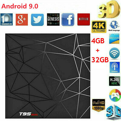 T95 Max 4GB+32GB Android 9.0 Quad Core TV Box HD 6K Media Player WIFI TV CAJA ES