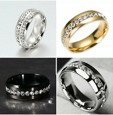 8MM Stainless Steel Men Women Wedding  Engagement Ring Band Size 6-13