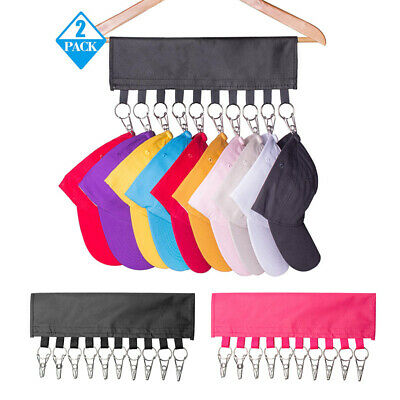 10 Steel Clips Baseball Cap Hat Rack Door Closet Hanger Storage Organizer Holder