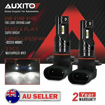2x AUXITO H10 9140 9145 LED Fog Light Bulbs Driving Lamp DRL 6000K White Globe D