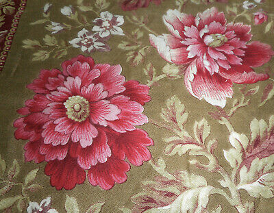 Antique French 19thc Floral Cotton Fabric ~ Bourdeaux Cranberry ~ Art Nouveau