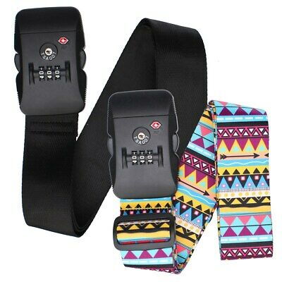 TSA Approved Combination Lock Luggage Strap Adjustable Suitcase Travel Belt - AU