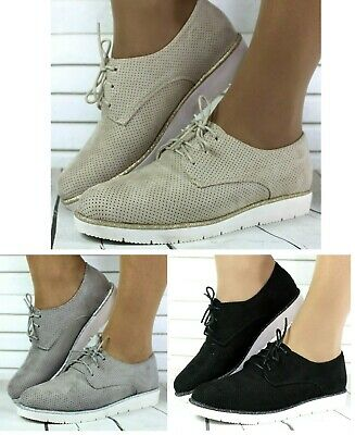 Womens Black Grey Beige Smart Oxford Brogue Girls Flat Lace Up Pumps Shoes Sizes