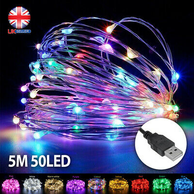 5M 50LED Silver Wire USB Plug In Micro String Lights Party Static Fairy Light UK