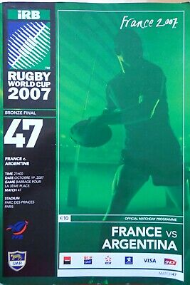 France v Argentina World Cup 3rd place match Rugby Programme 2007