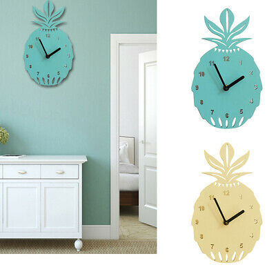 Nordic Style Hollow Pineapple Wooden Mute Wall Clock Bedroom Home Decor Funny