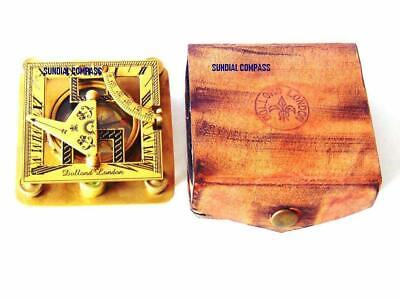 Nautical Brass Square Sundial Compass w/Leather Box Fully Functional Compass