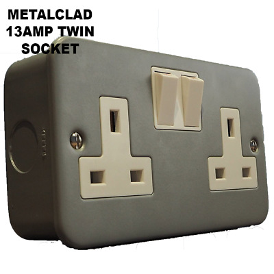 Metal Clad 13Amp Double 2 Gang Switched Socket Twin Electrical Wall Socket Plug