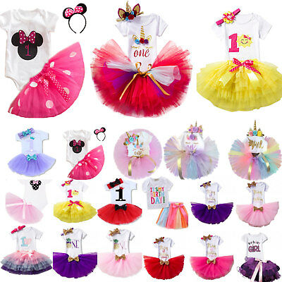 Kids Girls First 1st Birthday T-shirt Tulle Skirt Dress Bowknot Party Outfit Set