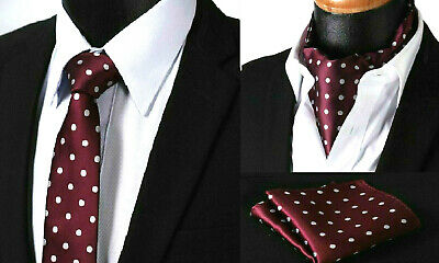 Merlot Red Tie Polka Dot Cravat Ascot Scarf Silver Hanky Wedding Handkerchief